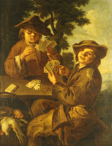 Two Peasant Boys Playing Cards At A Table by Cipper Giacomo Francesco Il Todeschini