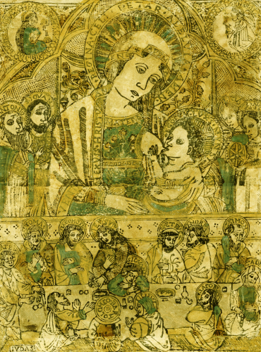 The Madonna And Child Enthroned, With The Last Supper Below by Italian School