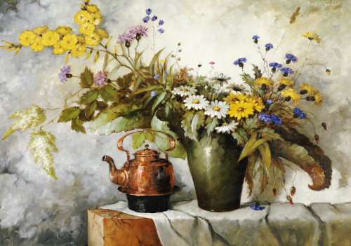 Cornflowers, Daisies And Other Flowers In A Vase By A Kettle On A Ledge by Carl H. Fischer