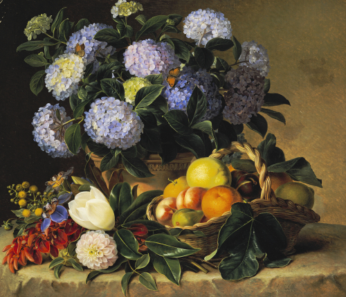 Hydrangea In An Urn And A Basket Of Fruit On A Ledge by Johan Laurents Jensen