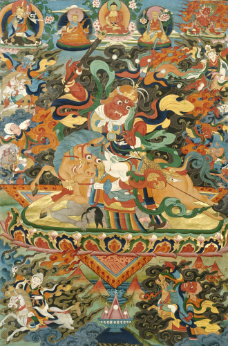 A Tibetan Thang.Ka Depicting Shri Devi Seated Astride Her Mule. Circa 1900 by Christie's Images