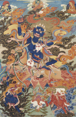 A Tibetan Thang.Ka Depicting Bse'i.Khrab.Can On His Horse. Circa 1900 by Christie's Images