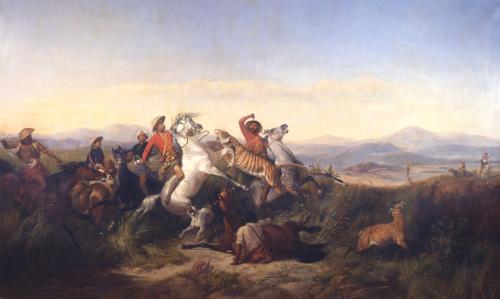 The Deer Hunt, 1846 by Raden Sarief Bastaman Saleh
