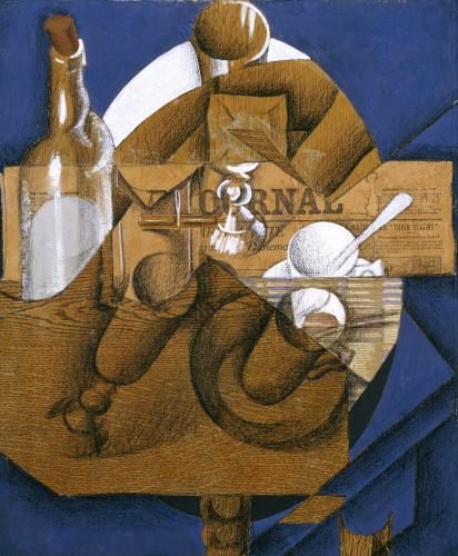 Trasse, Verres Et Bouteille (Le Journal), 1914 by Juan Gris