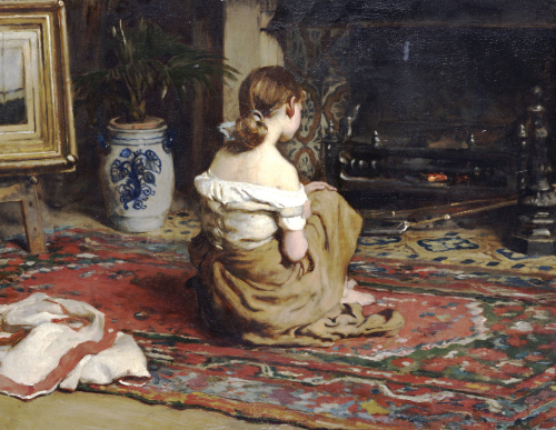 By The Fireside, 1878 by Frank Holl