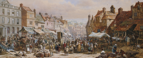 Market Day, Ashbourne, Near Derby by Louise Rayner