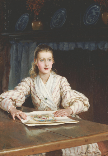 The Young Collector, 1889 by Frank William Warwick Topham