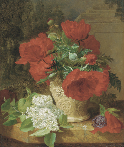 Poppies In A Vase, With White Lilac On A Marble Ledge, 1891 by Eloise Harriet Stannard