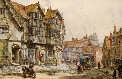 Old Houses, Shrewsbury by Louise Rayner