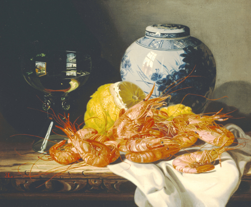 Shrimps, A Peeled Lemon, A Glass Of Wine by Edward Ladell
