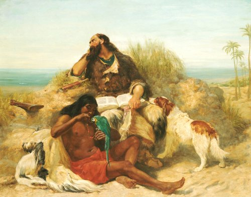 Robinson Crusoe And His Man Friday by John Charles Dollman
