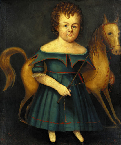 Portrait Of A Child With Her Rocking Horse by William Thompson Bartoll