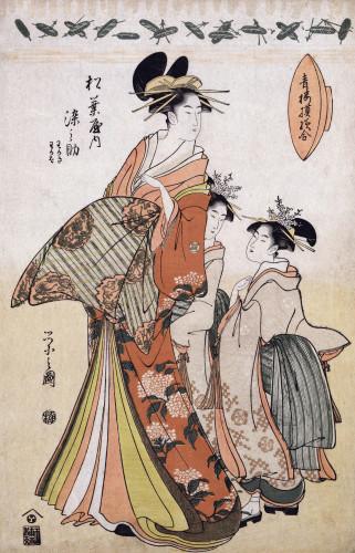 A Full Length Portrait Of The Courtesan Somenosuke by Chokyosai Eiri