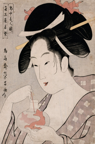 A Bust Portrait Of The Courtesan Wakamurasaki Of The Tsunotamaya by Chokyosai Eiri