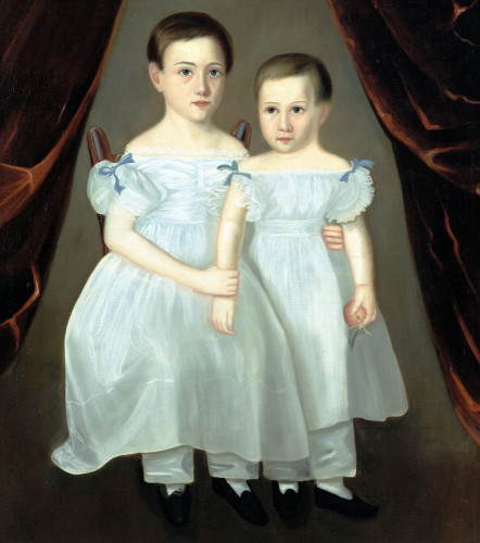 Portrait Of Two Young Girls by American School