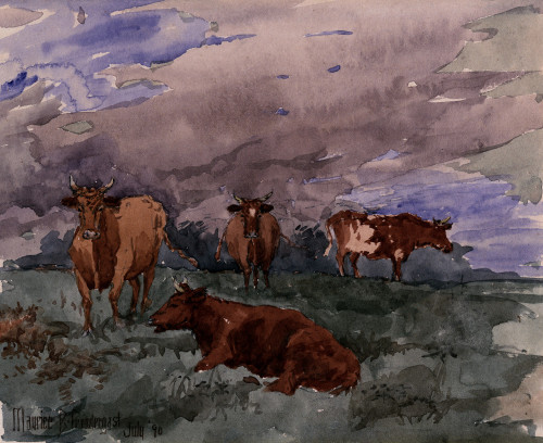 Cattle In A Landscape by Maurice Prendergast