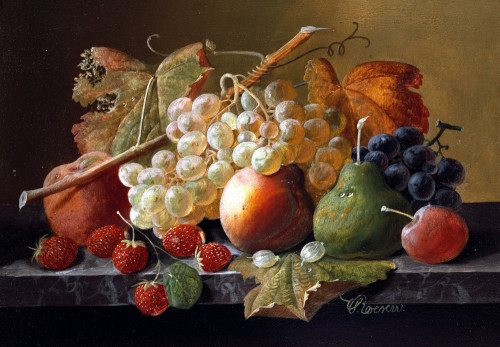 Fruit On A Marble Ledge by Severin Roesen