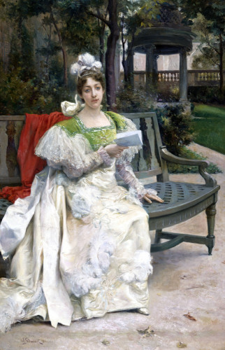 Woman In A Garden by Julius Leblanc Stewart