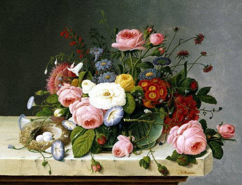 Still Life: Flowers On A Marble Topped Table by Severin Roesen
