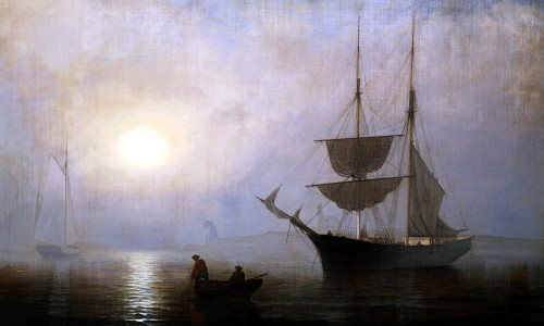 Ship In A Fog Off Ten Pound Island, Gloucester by Fitz Hugh Lane