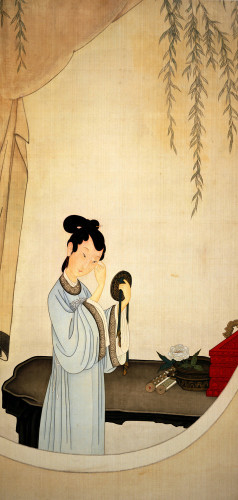 A Lady Gazing In The Mirror by Yu Ming