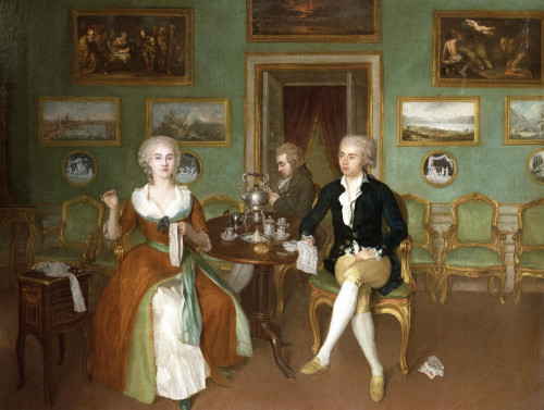 Group Portrait Of A Lady And Two Gentlemen by George Philip Reinagle