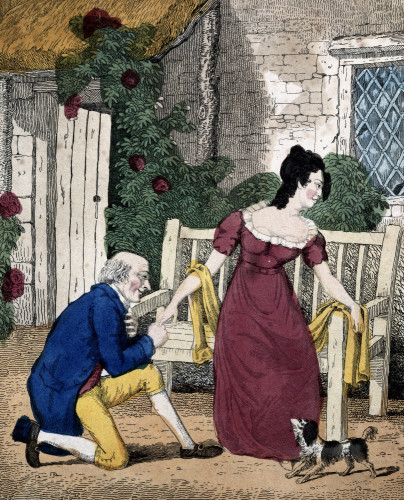 A Hand Coloured Lithographed Scene Of A Man Proposing, Circa 1800 by Anonymous