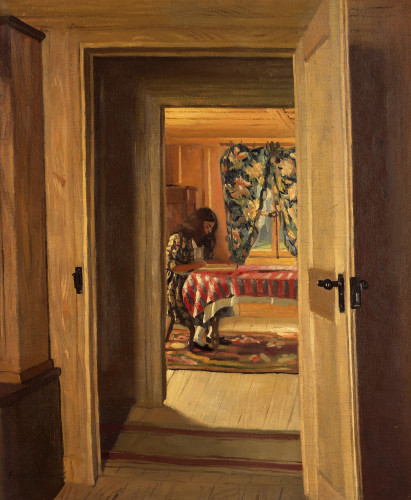 Interior With A Young Girl Writing by Felix Vallotton