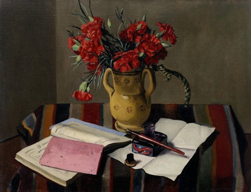 Carnations And Account Books by Felix Vallotton