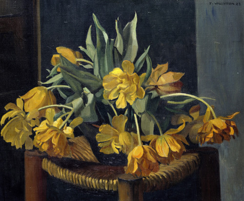 Double Yellow Tulips On A Wicker Chair by Felix Vallotton