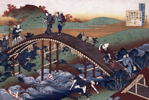 Autumn Maple Leaves On The Tsutaya River by Katsushika Hokusai