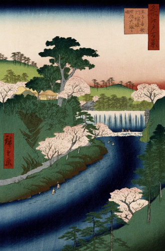 'Otonashi River Dam, Oji, Popularly Called Great Waterfall by Ando Hiroshige