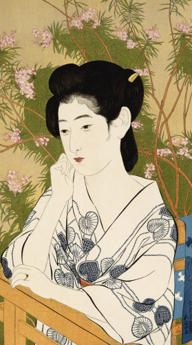 Woman Leaning On The Balcony Railing At A Hot Spring by Hashiguchi Goyo