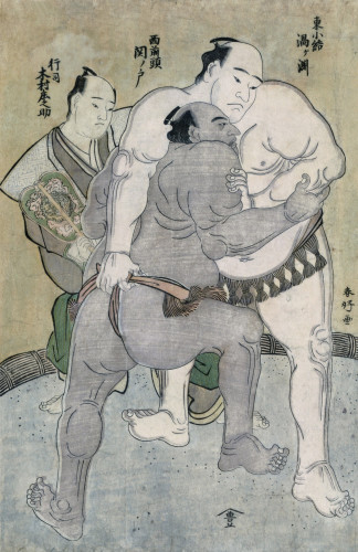 The Wrestling Bout Between The Komosubi Of The Eastern Group by Katsukawa Shunsho