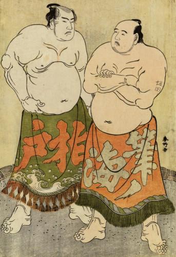 Portraits Of The Wrestlers Fudenoumi And Kashiwado by Katsukawa Shunsho