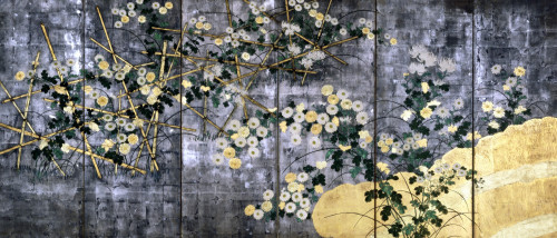 Chrysanthemums And Brush Fence by Christie's Images