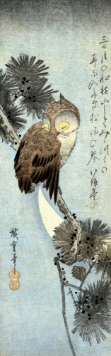 The Crescent Moon And Owl Perched On Pine Branches by Ando Hiroshige