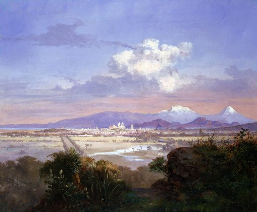 The Valley Of Mexico With Volcanoes by Salvador Murillo