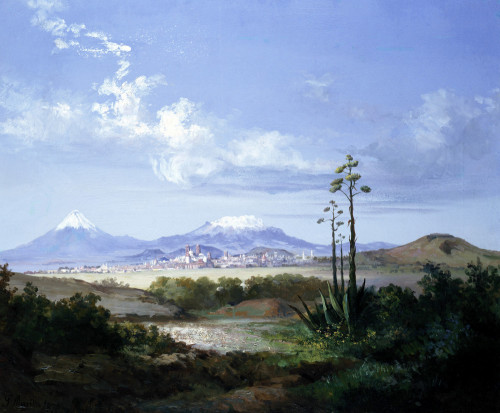 The City Of Puebla With Volcanoes by Salvador Murillo
