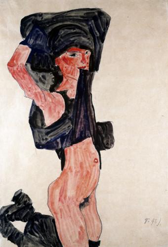 Kneeling Girl, Kniedes Maedchen by Egon Schiele