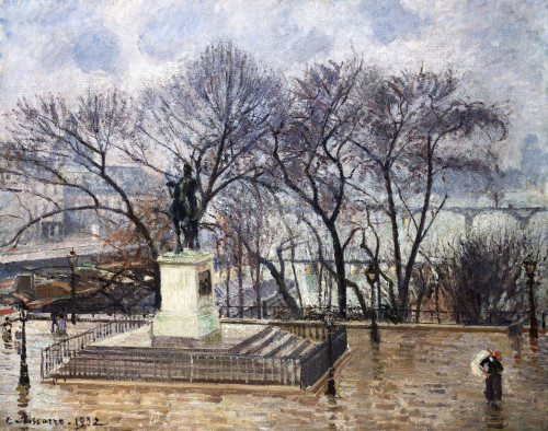 The Central Island On The Pont-Neuf, Henry IV Square, Morning, Rain by Camille Pissarro