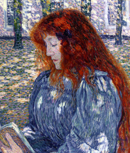 Woman Reading by Theodore van Rysselberghe