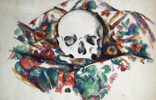 Skull On A Curtain by Paul Cezanne