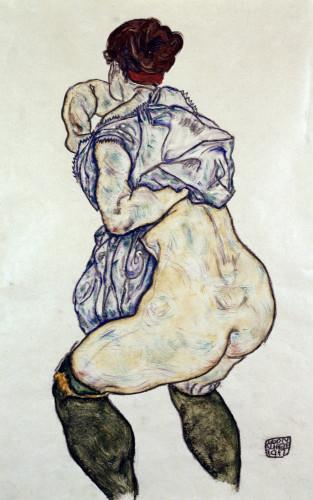 Mistress Halbakt With Green Stockings by Egon Schiele