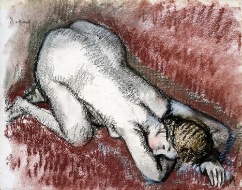 Naked Woman Kneeling by Edgar Degas