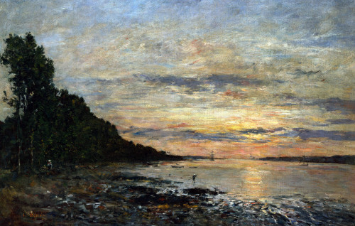 Plugastel, Sunset Over The Estuary by Eugene Louis Boudin