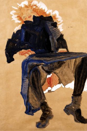 Reclining Girl In A Blue Dress by Egon Schiele