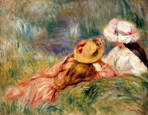 Young Girls By The Water by Pierre Auguste Renoir