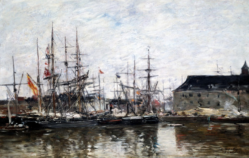 Three-Masters In Dock, Anvers by Eugene Louis Boudin