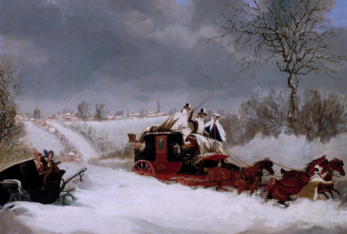 The Liverpool Mail In A Snowstorm Near St by James Pollard